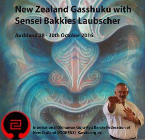 Sensei Bakkies Gasshuku Poster Auckland NZ 2016
