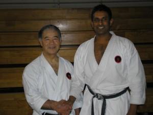 Sensei Raj with Higaonna Sensei at 2007 Oceania Gasshuku